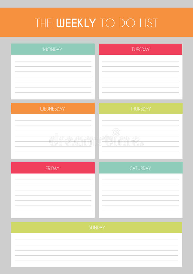 Template Simple Colorful The Weekly To Do List Stock Illustration