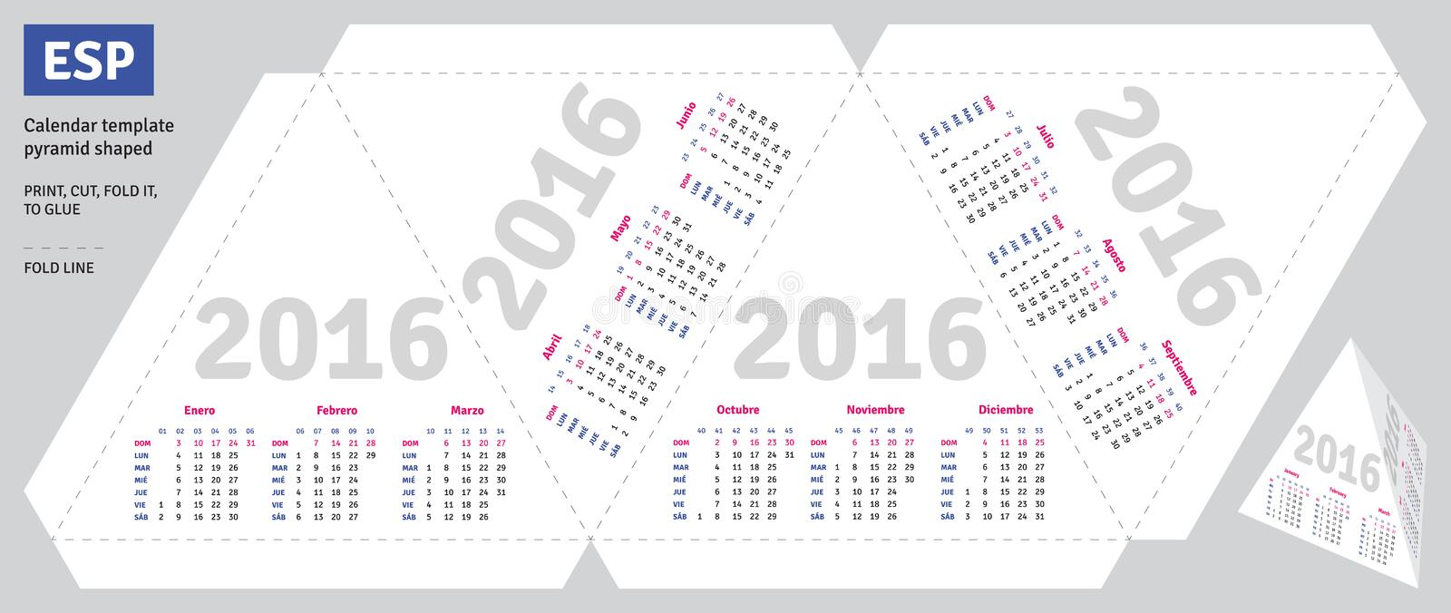 Template Spanish Calendar 2016 Stock Vector Illustration Of Glue