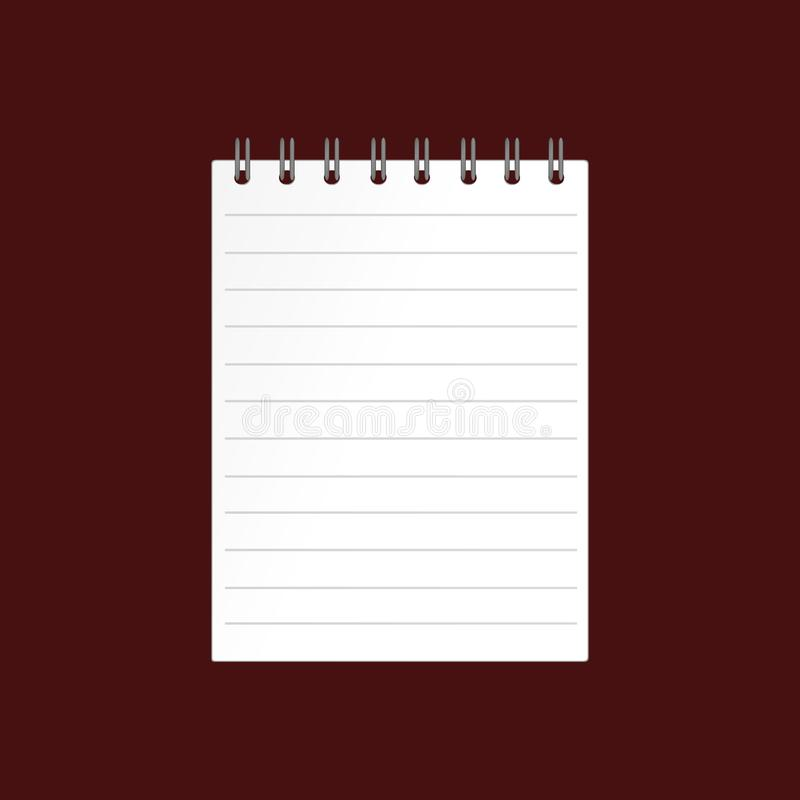 Template with spiral notebook on brown background. Vector. Diar. Y for business. The design of the cover of the laptop. A realistic notepad. Office stationery vector illustration
