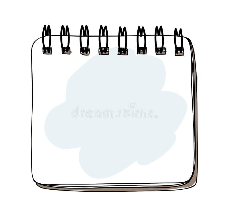 Template spiral notebook hand drawn art vector illustration.  stock illustration
