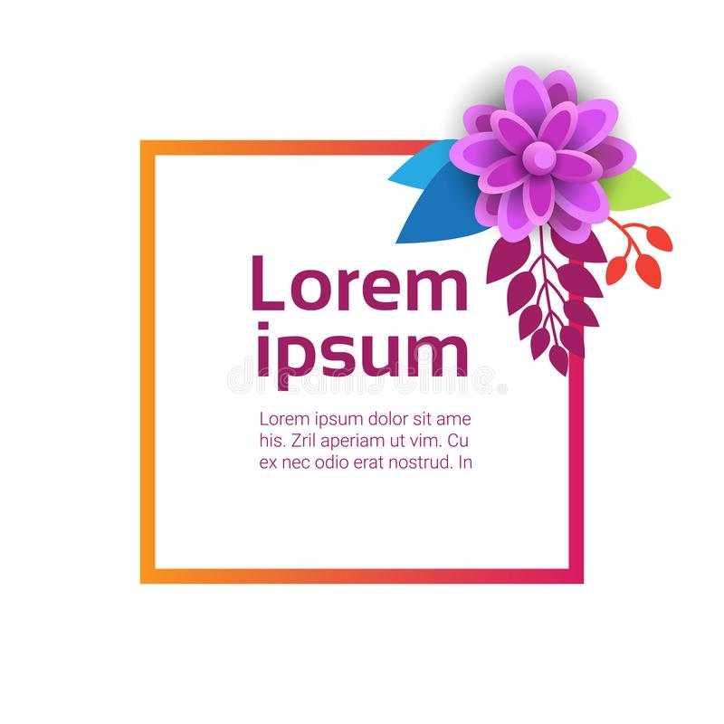 Template Spring Background For Copy Space Floral Graphic Design With Colorful Flowers royalty free illustration