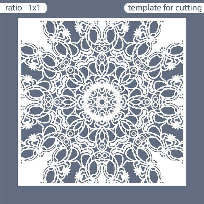 Template square greeting cards laser cut. Suitable for wedding invitations. Template greeting card for cutting plotter. Abstract round pattern. Vector stock illustration