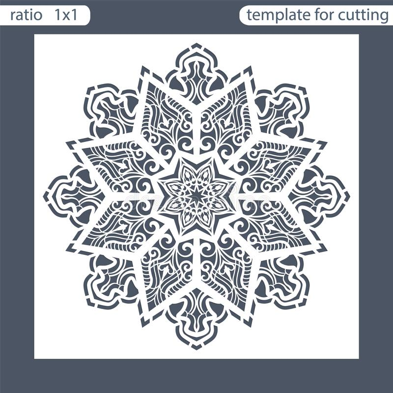 Template square greeting cards laser cut. Suitable for wedding invitations. Template greeting card for cutting plotter. Abstract r. Ound pattern. Vector royalty free illustration