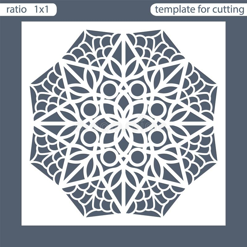 Template square greeting cards laser cut. Suitable for wedding invitations. Template greeting card for cutting plotter. Abstract r. Ound pattern. Vector vector illustration