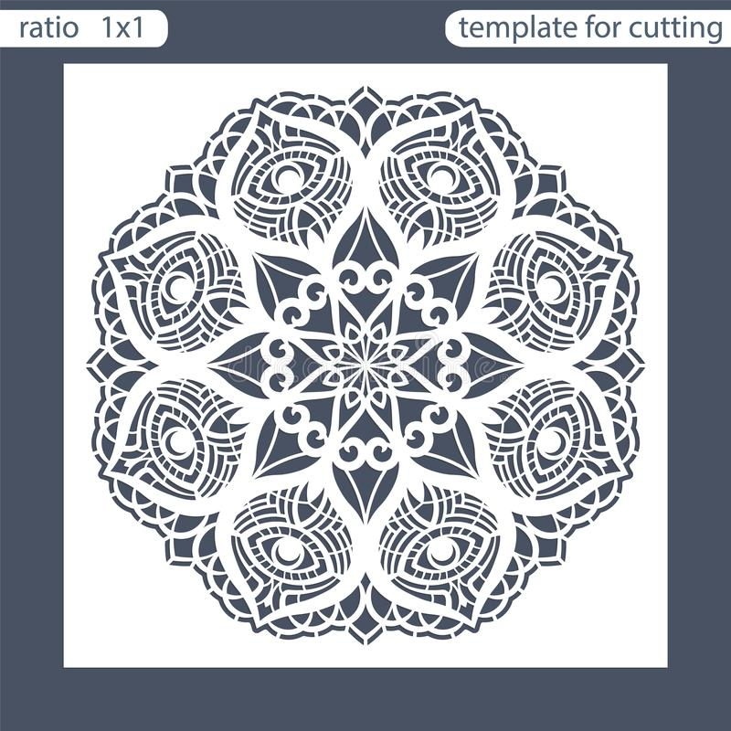 Template square greeting cards laser cut. Suitable for wedding invitations. Template greeting card for cutting plotter. Abstract r royalty free illustration