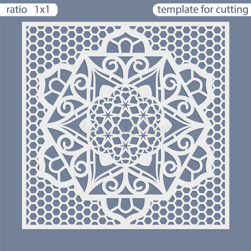 Template square greeting cards laser cut. Suitable for wedding invitations. Template greeting card for cutting plotter. Openwork lattice cut by laser cutting stock illustration