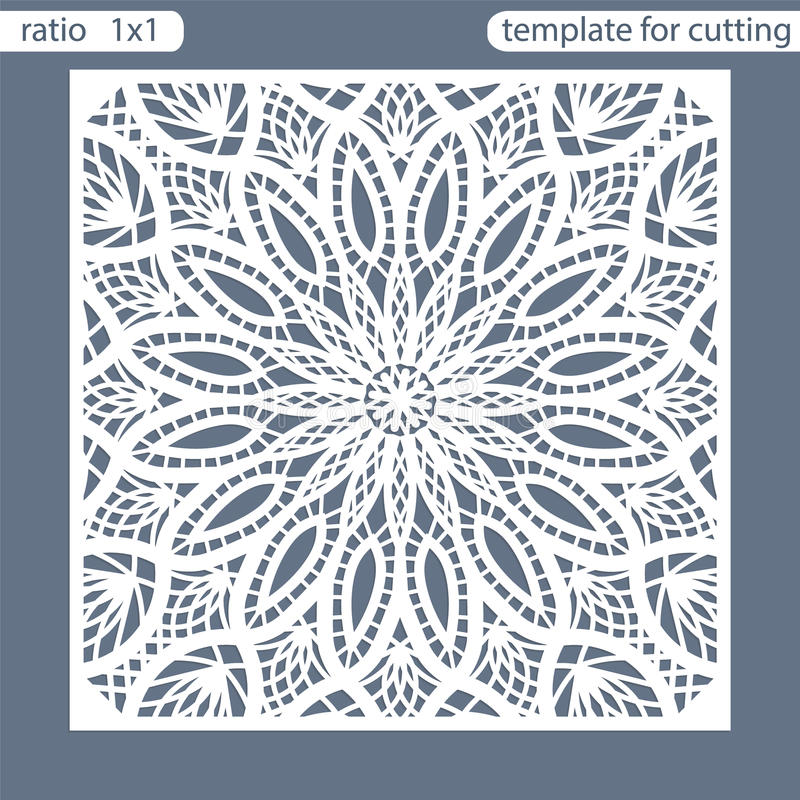 Template square greeting cards laser cut. Suitable for wedding invitations. Template greeting card for cutting plotter. Abstract r. Ound pattern. Vector stock illustration