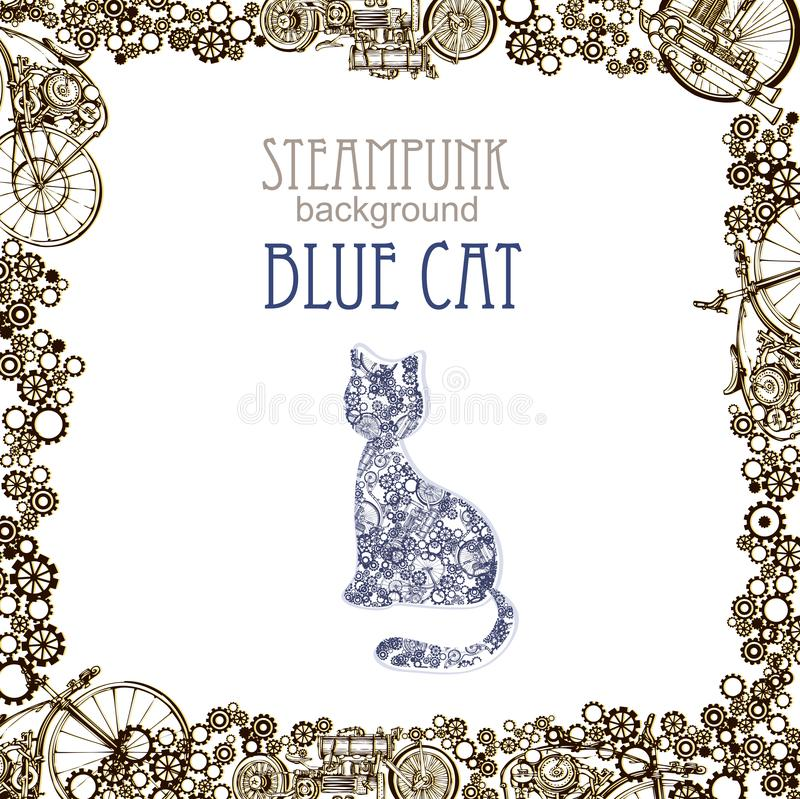 Template steampunk design for card with abstract cat. Frame steampunk background. Blue cat. stock illustration