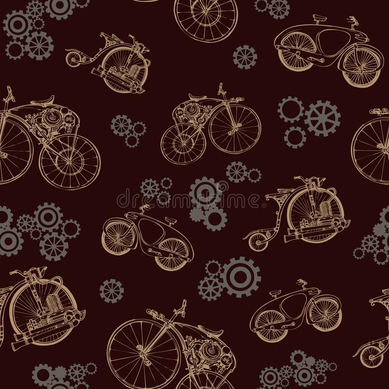 Seamless pattern with old bicycle and gears. Steampunk style stock illustration