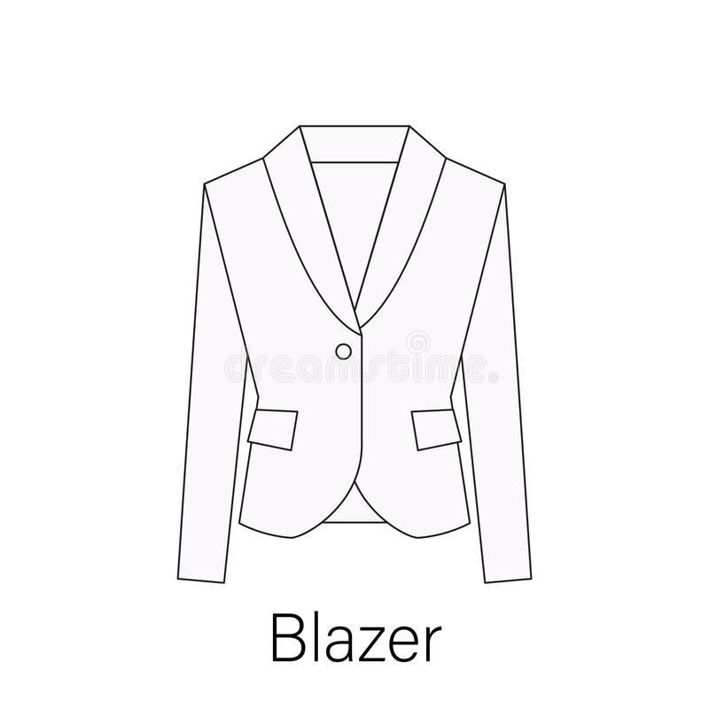 Men blazer or jacket or suit symbol simple flat vector icon in line design stock illustration