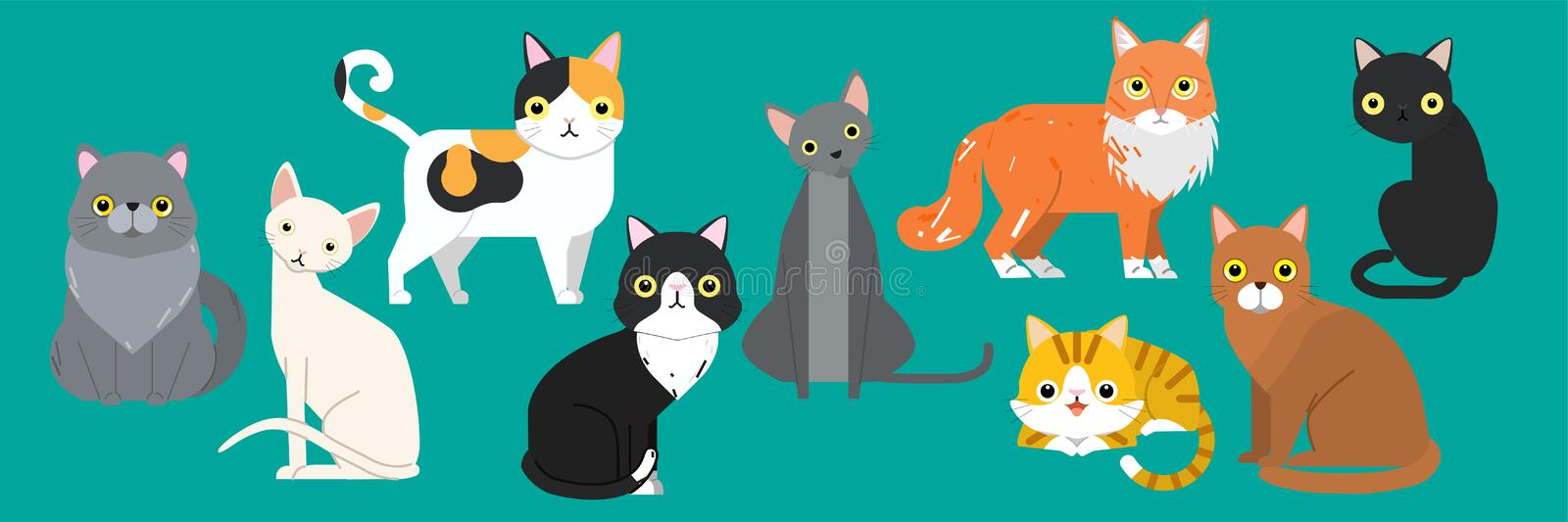 Funny cartoon cats characters different breeds cute pet animal set stock illustration