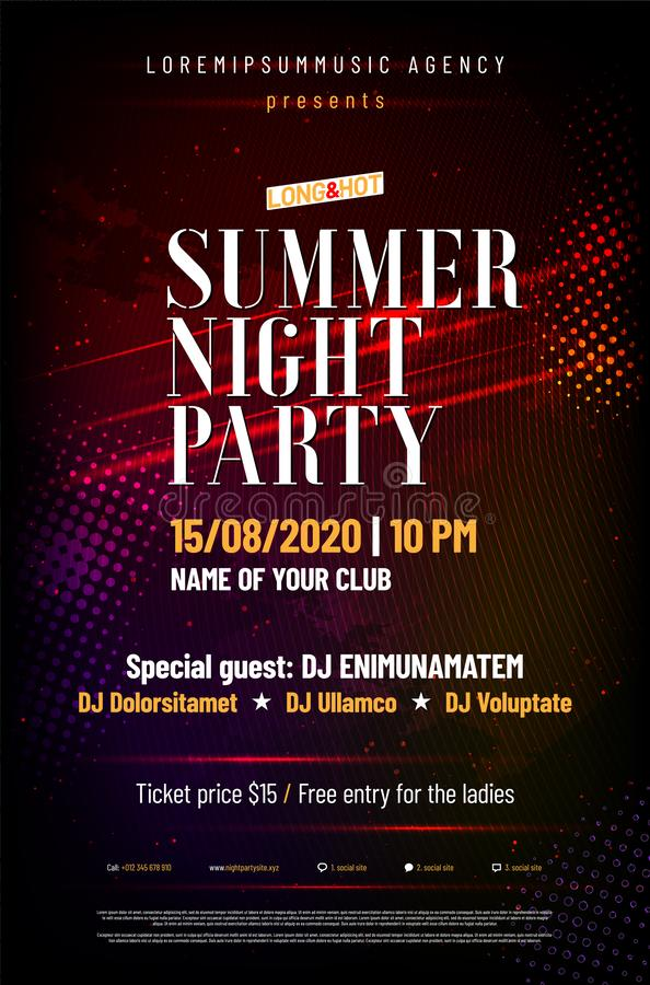 Template for summer night party poster stock images