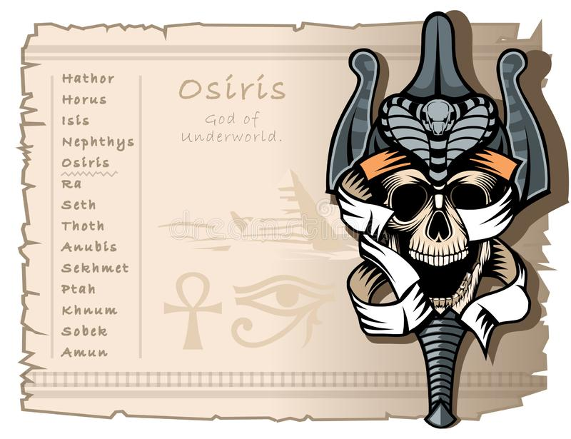 Template for T-shirts and tattoos on the theme of the ancient Egyptian gods. Osiris, the god of the underworld. Template for T-shirts and tattoos on the theme of vector illustration