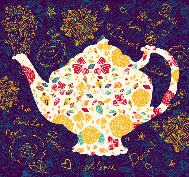 Template with teapot. Hand drawn teapot wirh floral pattern vector illustration