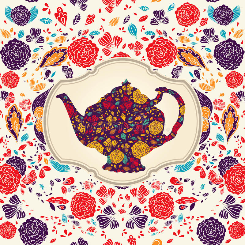 Template with teapot. Hand drawn teapot wirh floral pattern stock illustration