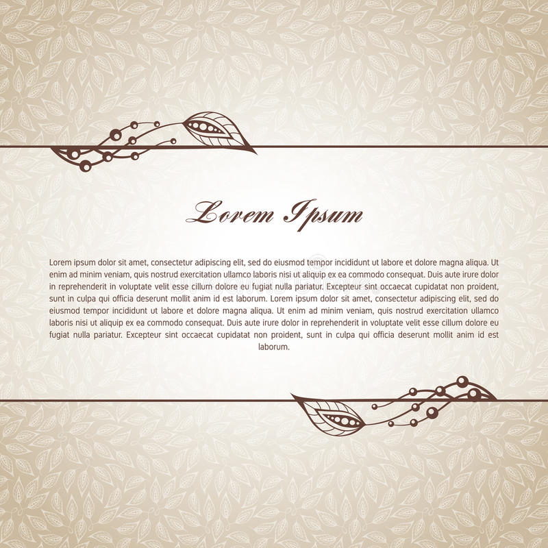 Template for text. Template for short text, greeting cards, invitations, menus, labels. Graphic design pages on seamless pattern stock illustration