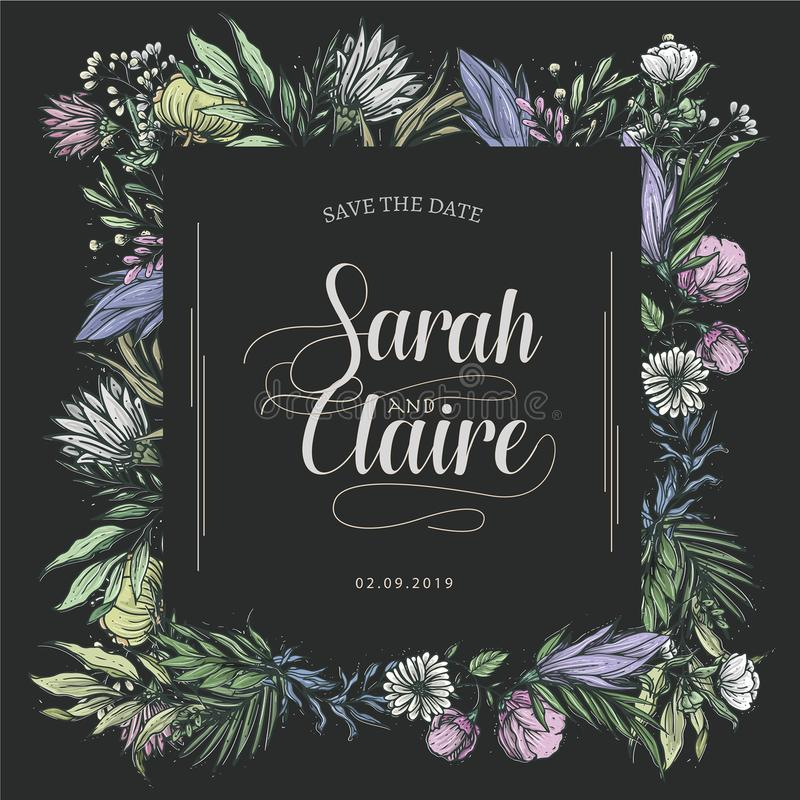 Wedding Cover Template Rectangular colorful vector illustration
