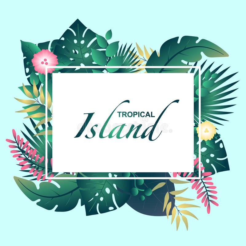Template tropical Island with tropical leafs stock illustration