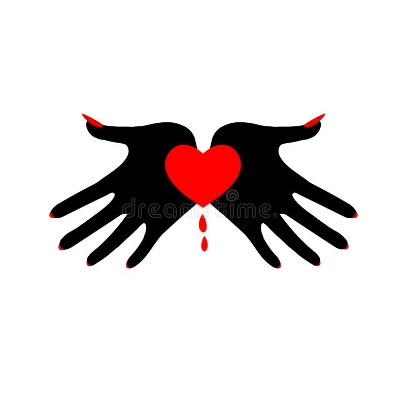 Heart in black palms. Demonic image. Symbol of the fatal passion. Template for Valentine`s day, hand drawn vector illustration isolated on white, logo, t-shirt vector illustration