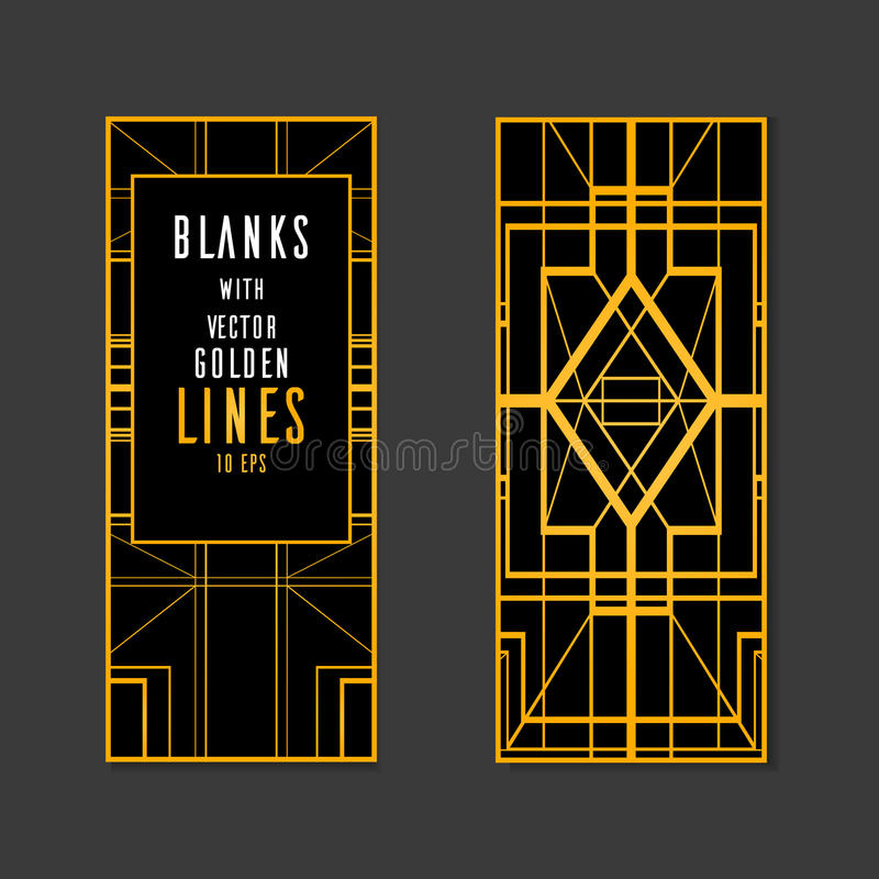Template Vector blank with place for text, with gold lines. vector illustration