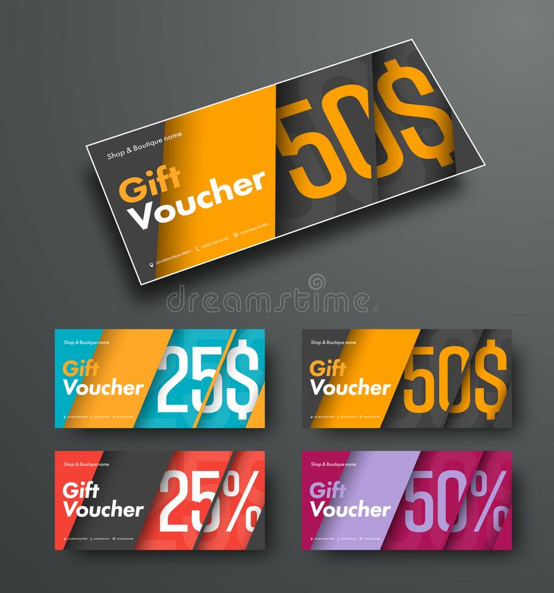 Template Of Vector Gift Vouchers In The Style Of Material Design ...