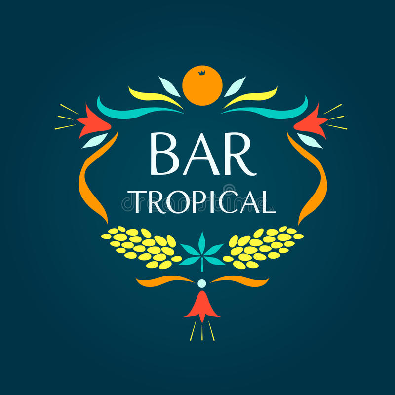 Template vector logo. Tropical bar. Oval frame of. Fruits and flowers stock illustration