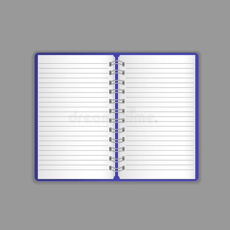 Template, layout, beautiful realistic open notebook, organizer, notepad, office book. royalty free illustration