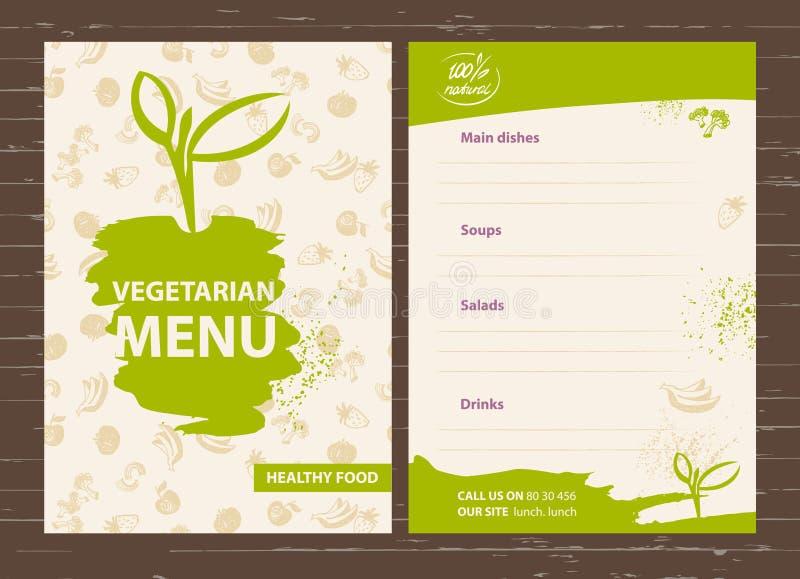 Template of a vegetarian menu for a cafe, restaurant, bar. Healthy food. Hand-drawn design elements for the vegetarian menu. royalty free illustration