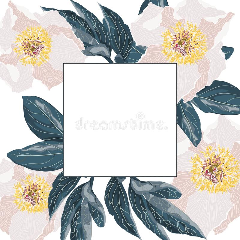 Template vintage card for the design of wedding invitations, greetings. Floral exotic vintage decoration. Beige flowers peonies royalty free illustration