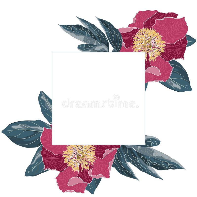 Template vintage card for the design of wedding invitations, greetings. Floral exotic vintage decoration. Light-magenta flowers peonies vector illustration