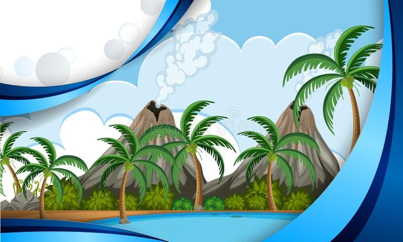 A template of volcano island. Illustration royalty free illustration