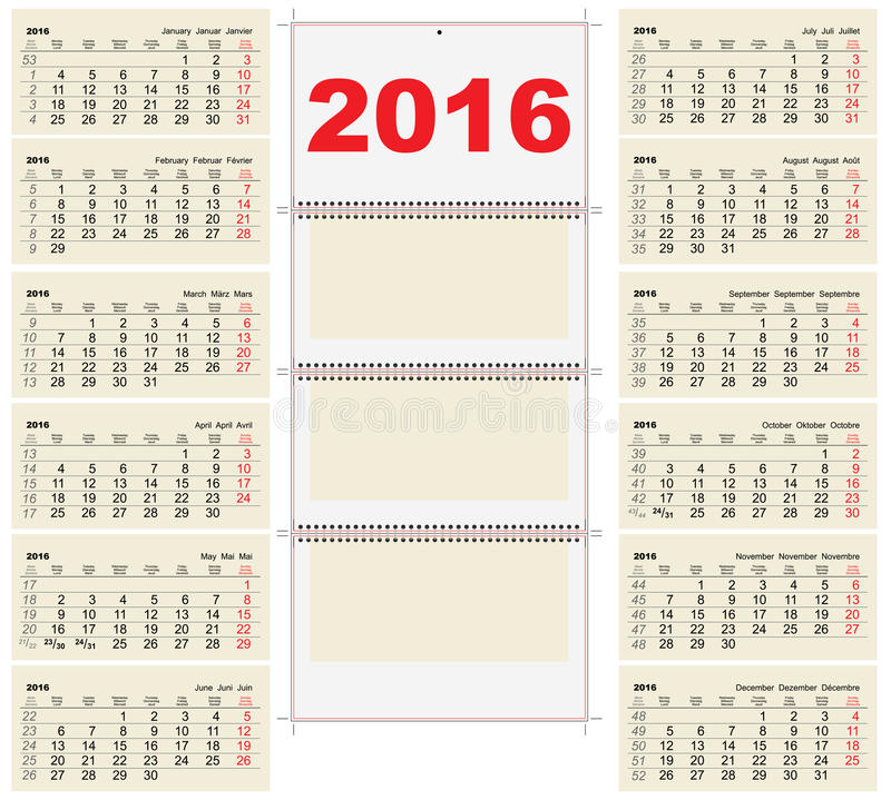 Template Wall Quarterly Calendar For 2016 Stock Vector