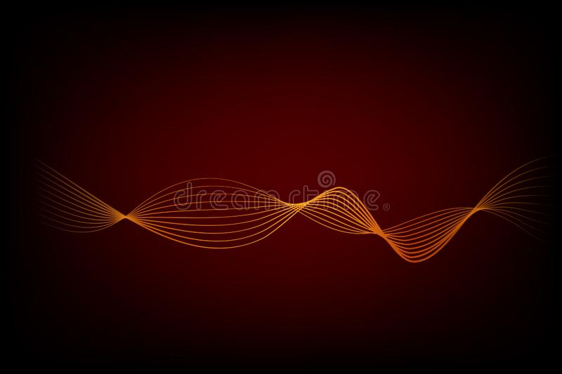 Simple Vector Abstact Golden 8 Wave Line for Element Design of Certificate, Banner, Backdrop, Cover, etc at Black. Abstact Golden 8 Wave Line for Element Design royalty free illustration
