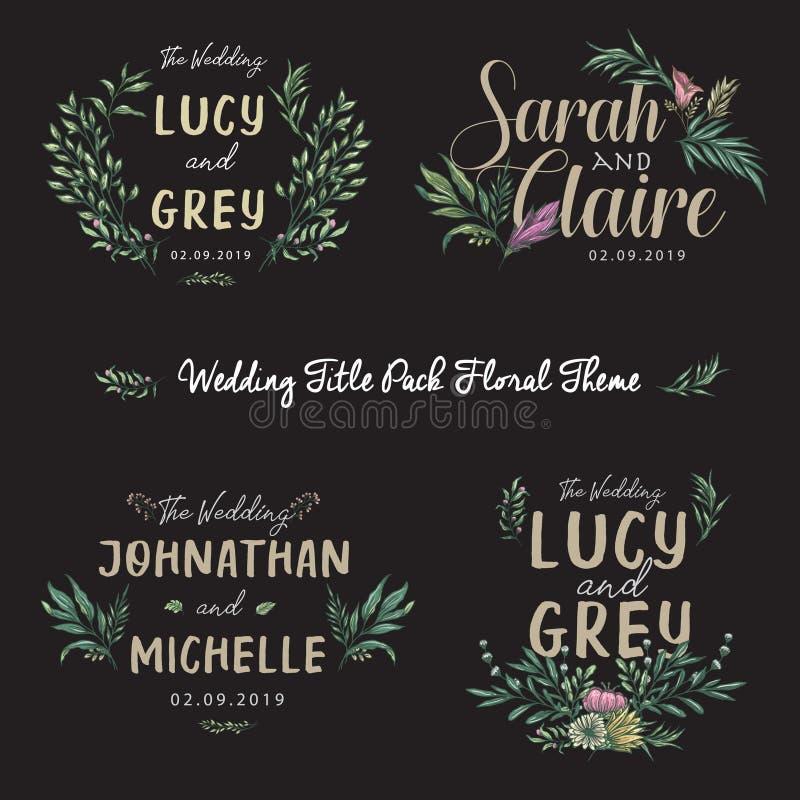Floral Wedding Invitation Colored Template Set Title stock illustration