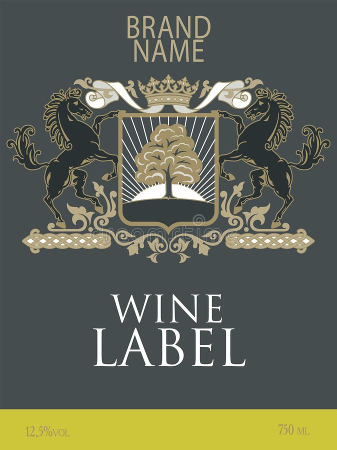 Template of wine label with a coat of arms with two horses reared under the royal crown vector illustration