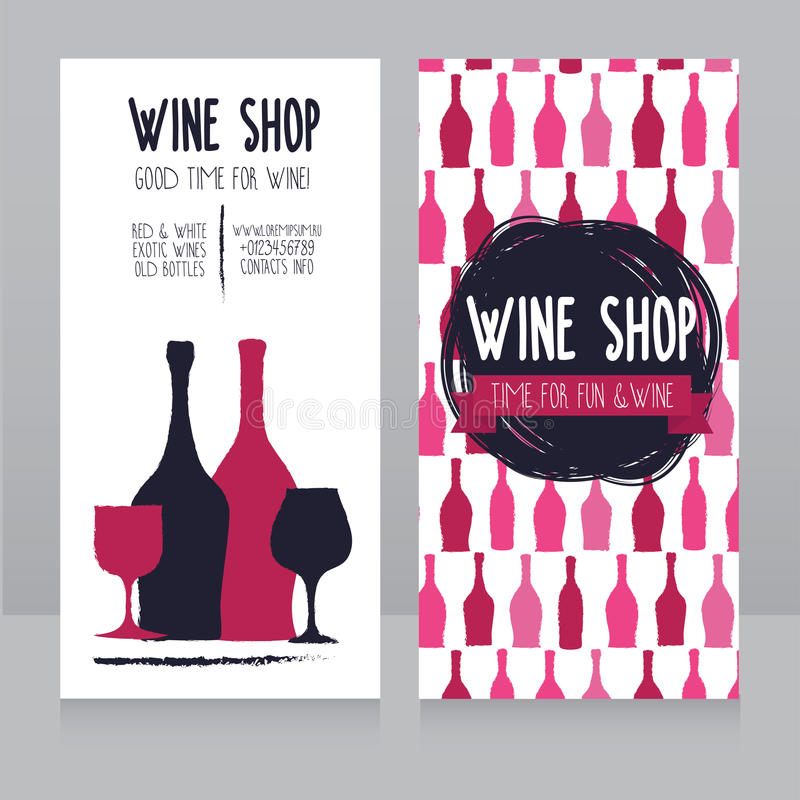 Template For Wine Shop Business Card Stock Vector - Illustration of ...