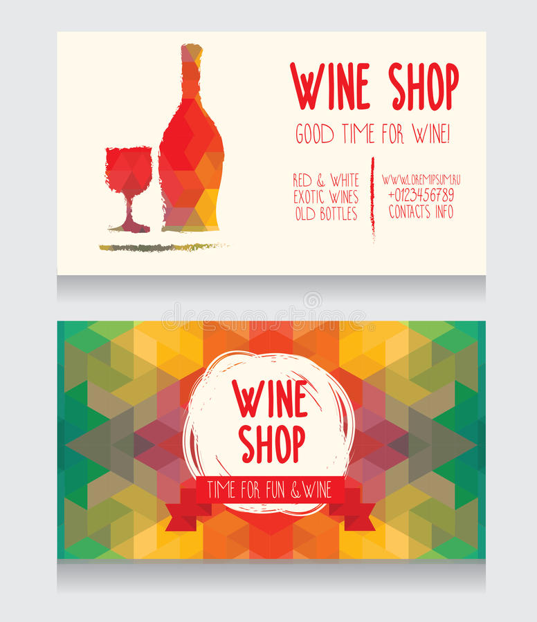Template For Wine Shop Business Card Stock Vector - Illustration ...