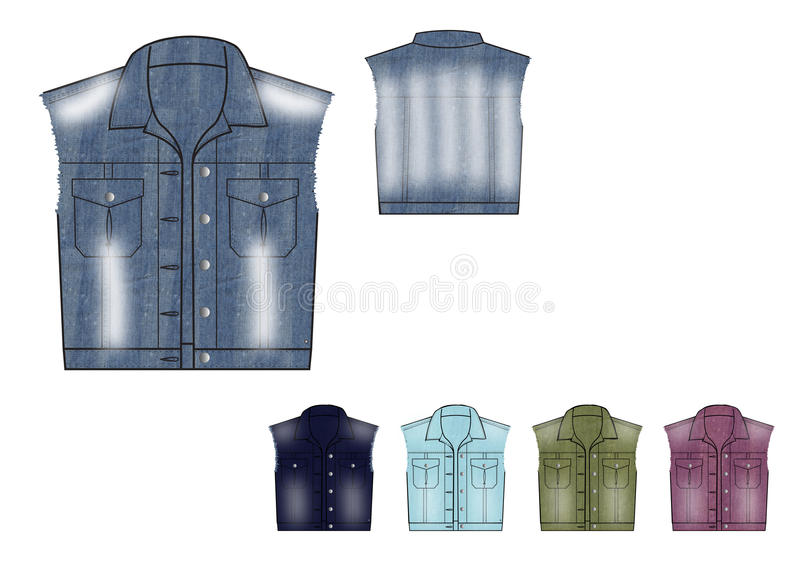 Template of Young girl Denim Waistcoat in various colours and tone of denim fabric raw edge at armhole stock illustration