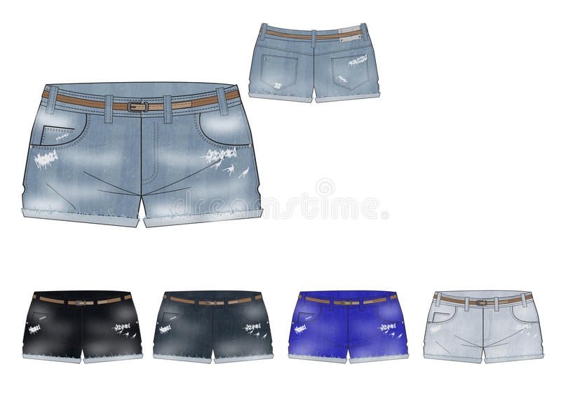 Template of young girls belted denim with various colour shade in shorts royalty free illustration