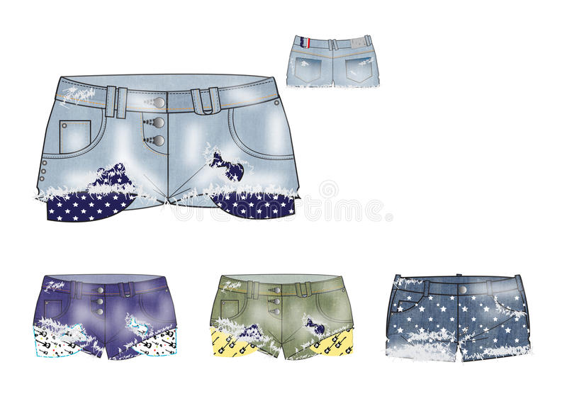 Template of young girls Ripped Denim Shorts design royalty free illustration