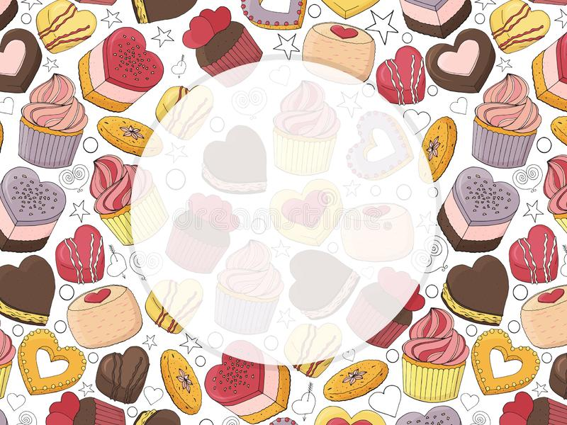 Template for your design. Different desserts. Cakes, candy and food for Valentines day. Hand drawn. For cafe menu, restaurant, packaging, advertisements vector illustration