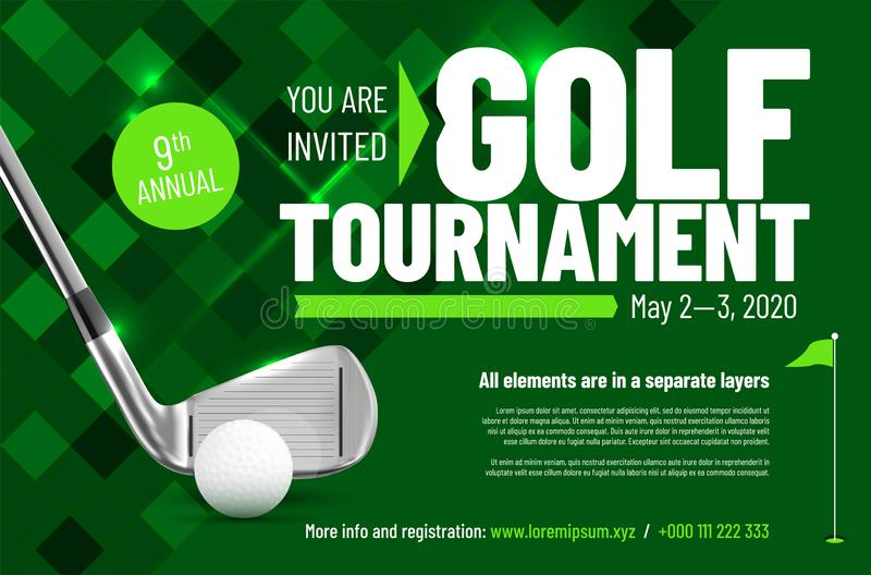 Template for your golf tournament invitation with sample text vector illustration