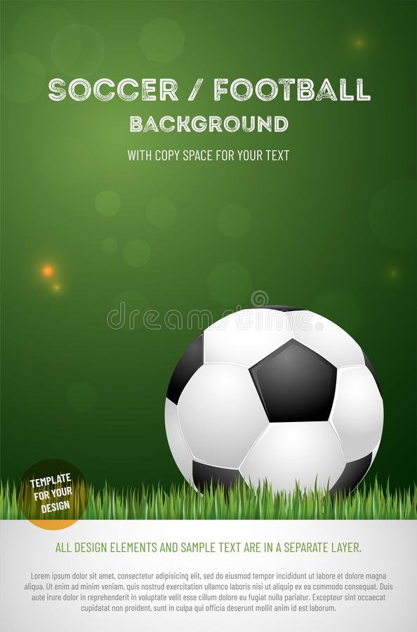 Template for your soccer football poster with ball stock illustration