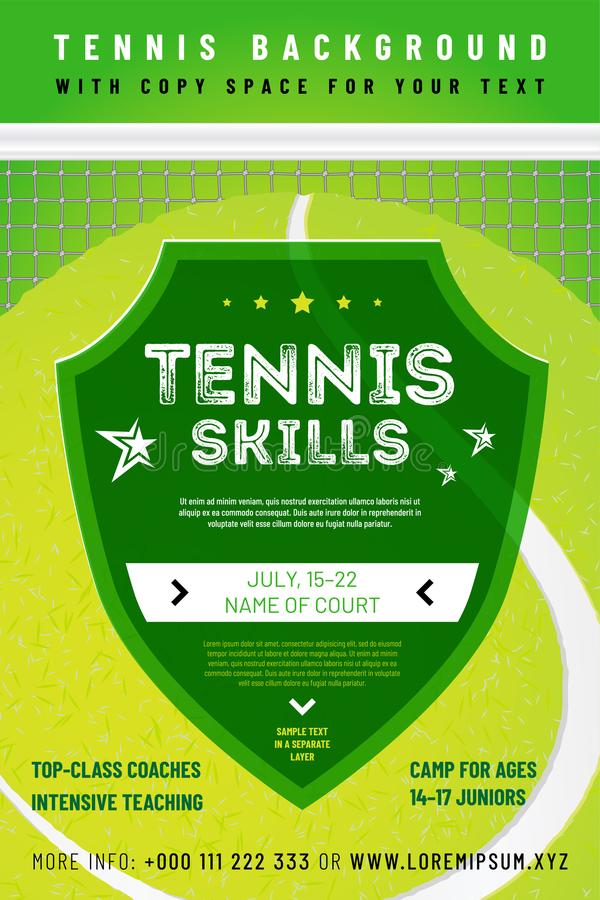 Template for your tennis design with sample text stock illustration
