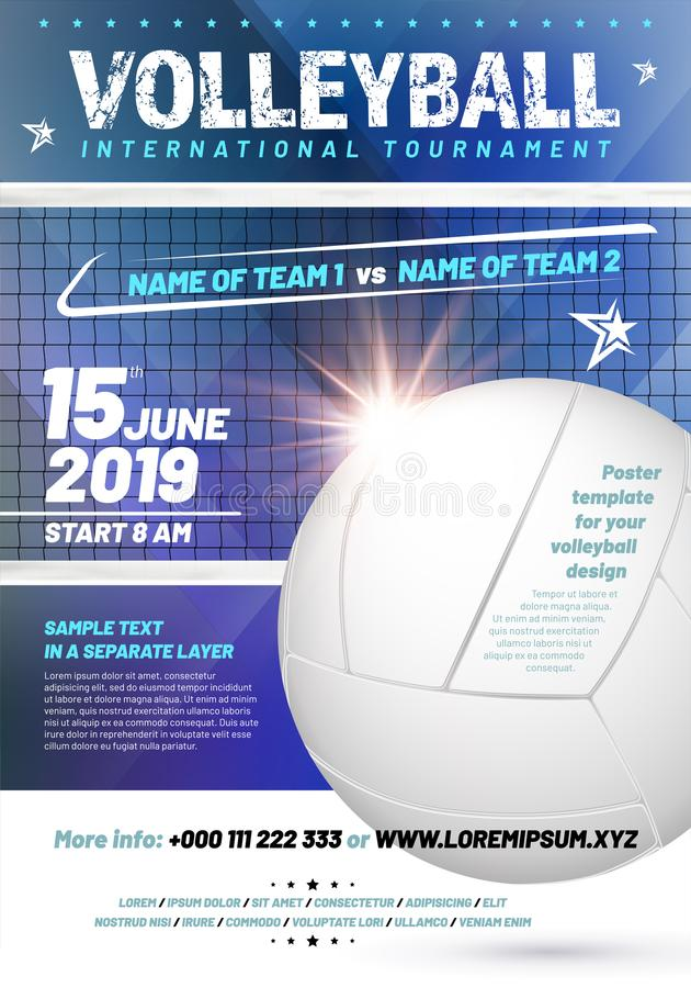 Template for your volleyball tournament poster design royalty free illustration