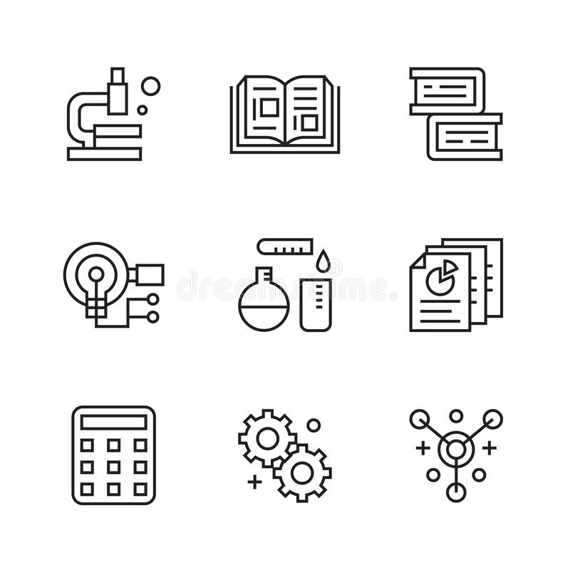 Research Icons. Flat Line Icons with Doodle Style. Trendy and Youthful royalty free illustration