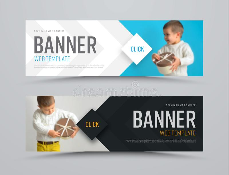 Templates of black and white vector horizontal web banners with arrows and a place for a photo vector illustration
