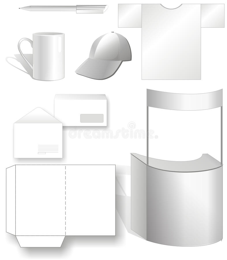 Templates for brand-book. Template for developing brand-book contains cap, mug, handle, envelope, folder, shirt, booth. illustration royalty free illustration