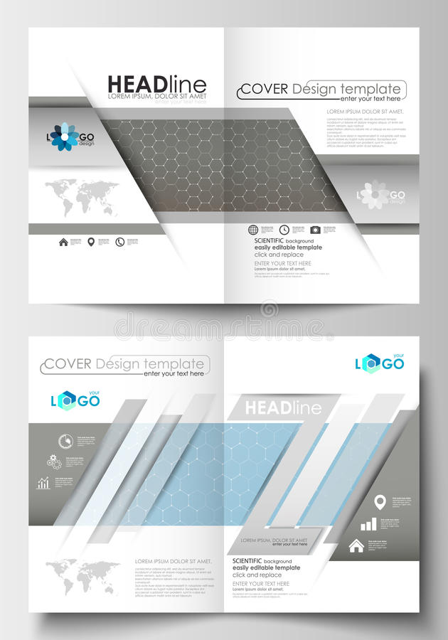 Templates for brochure, magazine, flyer, booklet. Cover template, flat layout in A4 size. Scientific medical research stock illustration