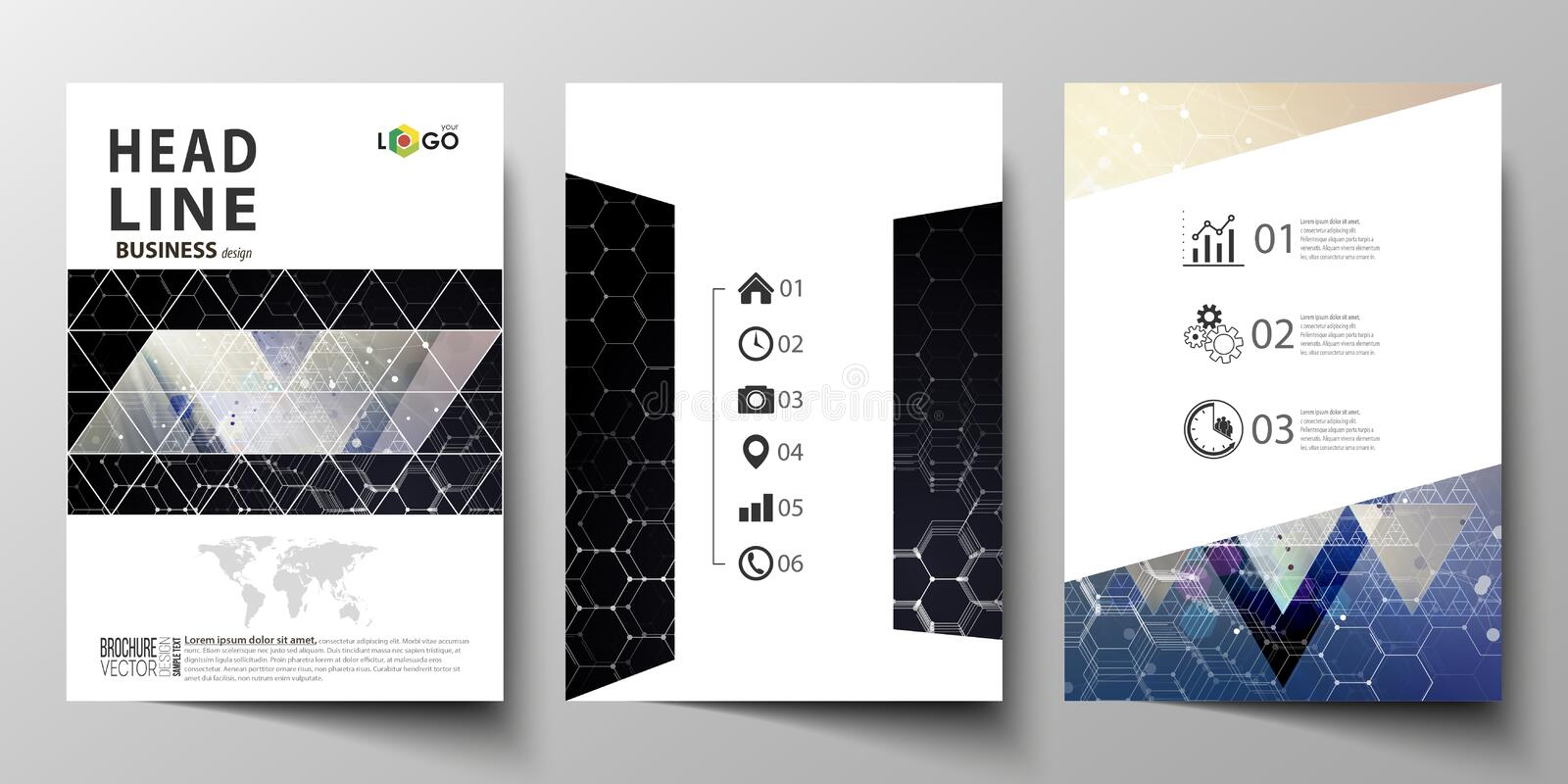Templates for brochure, magazine, flyer or report. Cover design template, easy editable vector layout in A4 size. Chemistry pattern, hexagonal molecule vector illustration